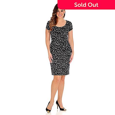 712-962 - aDRESSing WOMAN Stretch Knit Short Sleeved Scoop Neck Peplum Dress