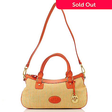 712-971 - PRIX DE DRESSAGE Raffia & Leather Double Handle Zip Top Satchel w/ Shoulder Strap