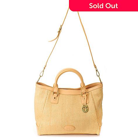 712-974 - PRIX DE DRESSAGE Raffia & Leather Trim Double Handle Large Tote Bag w/ Shoulder Strap