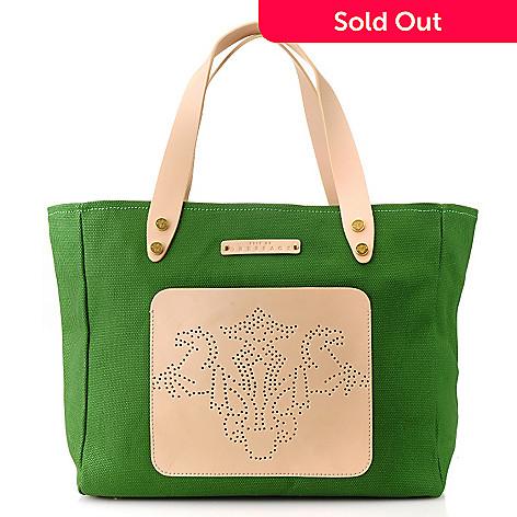712-977 - PRIX DE DRESSAGE Canvas & Leather Double Handle Perforated Zip Top Tote Bag