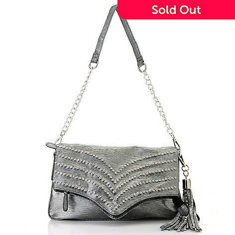 712-987 - Bag Chique Rhinestone & Stud Detailed Fold-Over Clutch w/ Shoulder Strap
