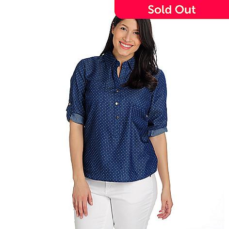 712-990 - OSO Casuals® Twill Roll Tab Sleeved Half Placket Polka Dot Shirt
