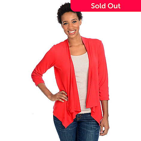 712-993 - Kate & Mallory® Stretch Knit 3/4 Ruched Sleeve Lace Back Detail Cascade Cardigan Sweater