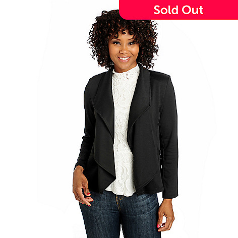 712-996 - Kate & Mallory® Ponte Knit Long Sleeved Cascade Front Jacket