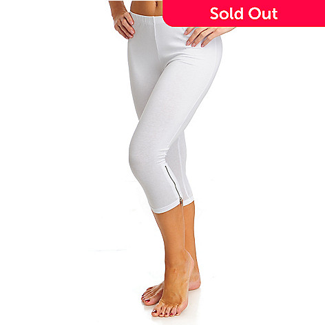 713-000 - WD.NY Stretch Knit Elastic Waist Cropped Side Zip Leggings