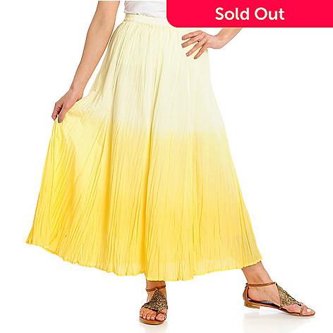 713-007 - OSO Casuals Woven Crinkle Elastic Waist Dip Dye Maxi Skirt