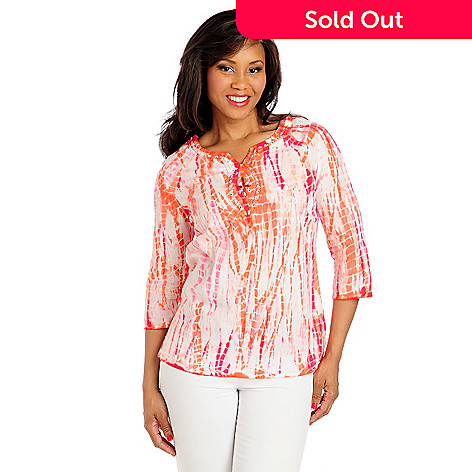 713-008 - OSO Casuals® Cotton Gauze 3/4 Sleeved Embellished Neck Tie-Dyed Tunic
