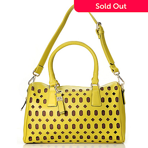 713-025 - Buxton® Leather ''Gabriella'' Double Handle Laser Cut Satchel