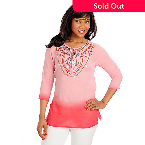 713-044 - OSO Casuals™ Ombre Gauze 3/4 Sleeved Embellished Keyhole Neck Tunic