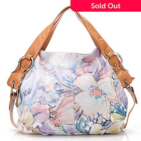 713-084 - Buxton® Leather Double Handle Floral Design Large Hobo Handbag