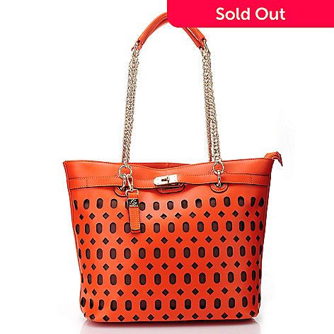 713-085 - Buxton® Leather Double Handle Chain Detailed Laser Cut Tote Bag