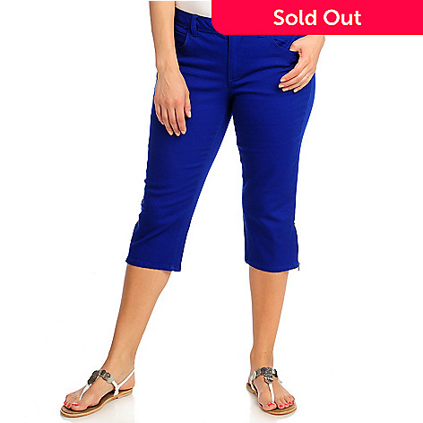 713-108 - OSO Casuals Stretch Twill Zip Hem Embroidered Pocket Capri Pants