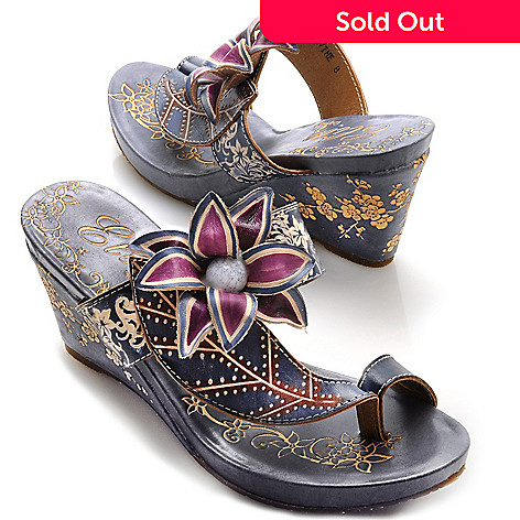 713-133 - Corkys Elite Hand-Painted Leather Slip-on Flower Toe Ring Wedges