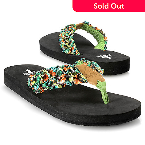 713-143 - Corkys Multi Color Ruffle Thong Sandals