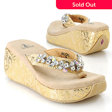 713-145 - Corkys Rhinestone Embellished Metallic Cheetah Print Wrapped Heel Thong Sandals