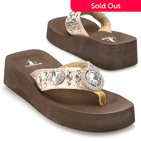 713-147 - Corkys Rhinestone & Stud Detailed Thong Sandals