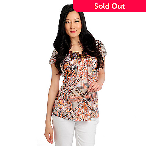 713-172 - One World Stretch Knit Flutter Sleeved Sequin Notch Neck Printed Top