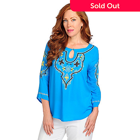 713-178 - One World Challis Bell Sleeved Keyhole Embroidered Top