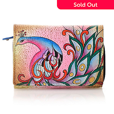 713-190 - Anuschka Hand-Painted Leather Accordion Flap Wallet