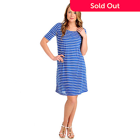 713-229 - OSO Casuals Stretch Knit Elbow Sleeved Zip Back Striped Dress