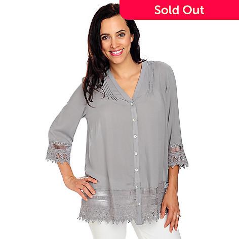 713-230 - OSO Casuals™ Challis 3/4 Sleeved Crochet Trimmed Pintuck Shirt