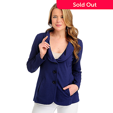 713-231 - OSO Casuals French Terry Long Sleeved Ruched Collar Knit Jacket