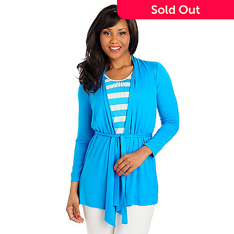 713-232 - OSO Casuals™ Stretch Knit Long Sleeved Striped Tank Inset Tie-Front Cardigan Sweater