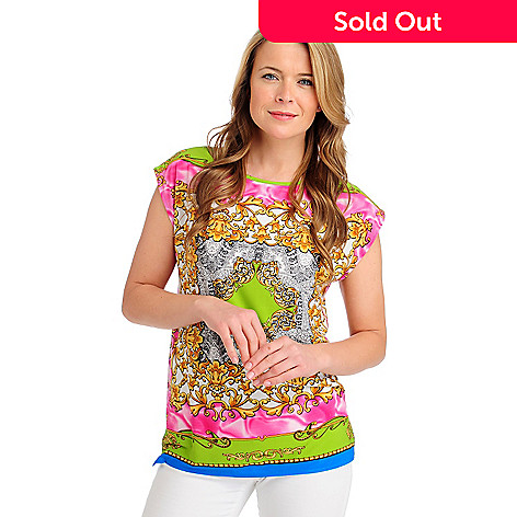 713-236 - Kate & Mallory® Stretch Knit Cap Sleeved Scoop Neck Status Printed Top