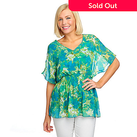 713-238 - Kate & Mallory Georgette Dolman Sleeved Smocked Waist V-Neck Top