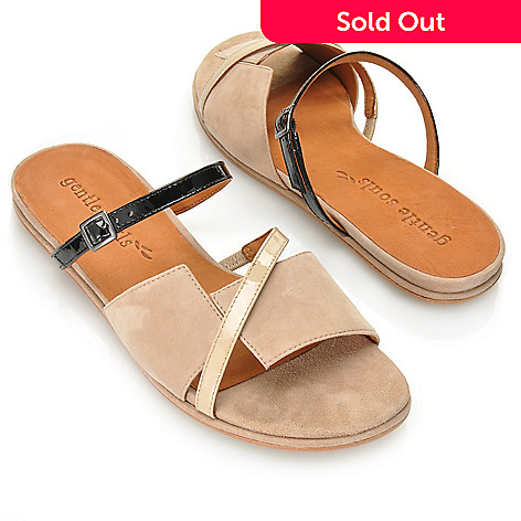 713-247 - Gentle Souls by Kenneth Cole Suede & Patent Leather ''One and Only'' Slide Sandals