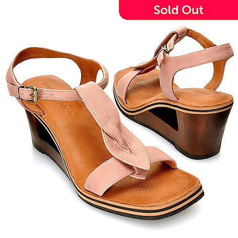 713-250 - Gentle Souls by Kenneth Cole Leather & Wood ''Pine Heart'' Sculpted Wedges