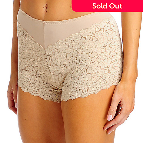 713-267 - Slim-A-Size Two-Pack Spandex Knit Lacy Boyshort Leg Nude Shaping PantyTwo-Pack