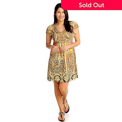 713-274 - One World Micro Jersey Flutter Sleeved Embellished Flip Flop Dress