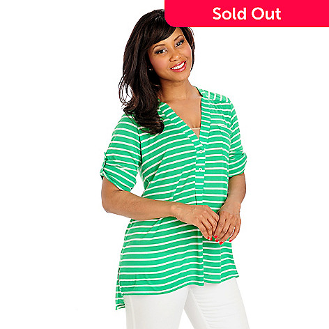 713-283 - OSO Casuals® Striped Knit Long Sleeved Half Placket Tunic Shirt