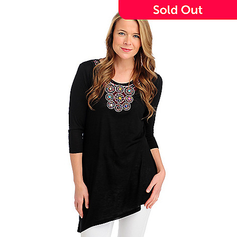 713-284 - Kate & Mallory® Slub Knit 3/4 Sleeved Asymmetrical Hem Embellished Top