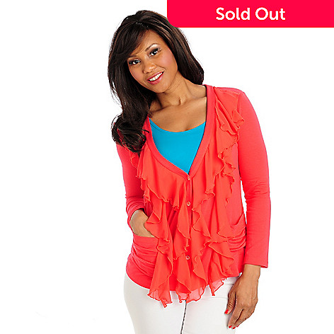 713-285 - Kate & Mallory® Stretch Knit Chiffon Ruffle Long Sleeved Cardigan Sweater