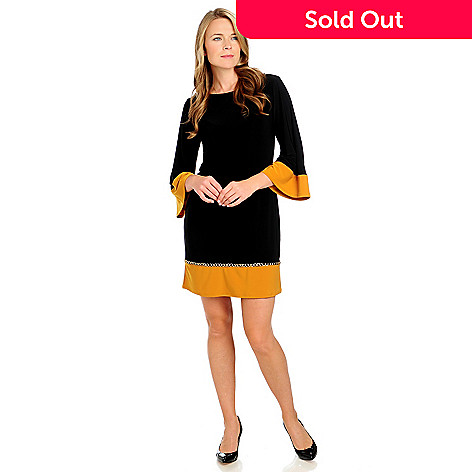 713-289 - aDRESSing WOMAN Micro Jersey 3/4 Sleeved Contrast Trim Chain Detail Dress