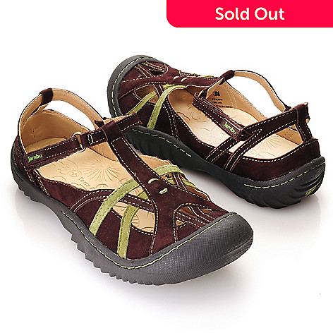 713-293 - Jambu ''Dune'' Leather Closed Toe T-Strap Comfort Sandals