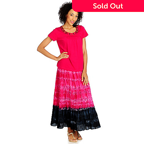 713-298 - OSO Casuals® Cotton Knit Short Sleeved Beaded Top & Tie-Dyed Skirt Set