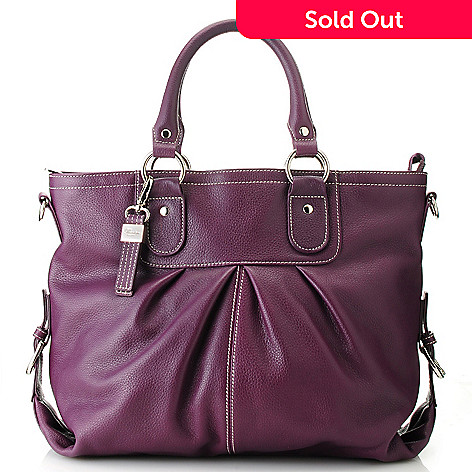 713-319 - Buxton Leather Double Handle Pleated Tote Bag w/ Shoulder Strap