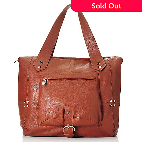 713-325 - Buxton® Leather Double Handle Zip Top Large Studded Tote Bag