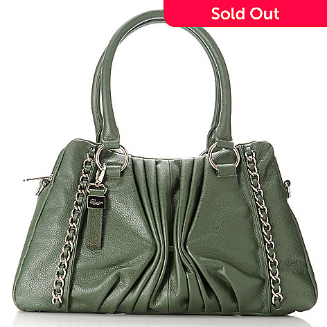 713-327 - Buxton® Leather Double Handle Chain Detailed Pleated Satchel