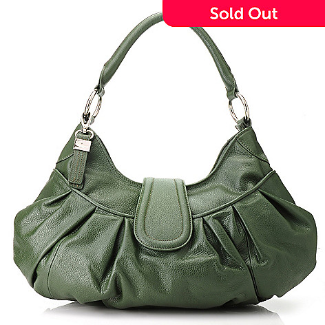 713-328 - Buxton® Leather Pleated & Ruched Hobo Handbag