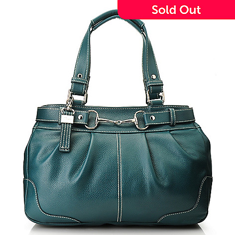 713-335 - Buxton® Leather Double Handle Buckle Detailed Tote Bag