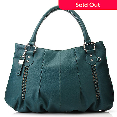 713-336 - Buxton® Leather Double Handle Crisscross Stitch Tote Bag