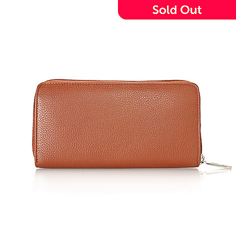 713-339 - Buxton Leather Zip Around Wallet w/ Identity Protect Lining