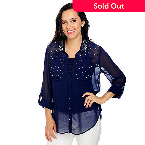 713-361 - Kate & Mallory Georgette Roll Tab Sleeved Beaded Shirt w/ Knit Tank