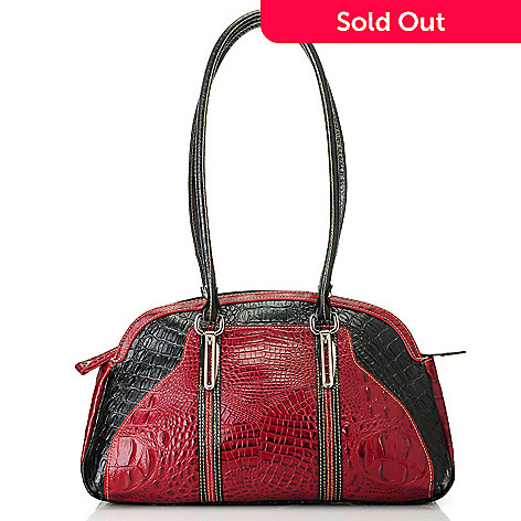 713-365 - Madi Claire Croco Embossed Two-tone Leather Double Handle Satchel