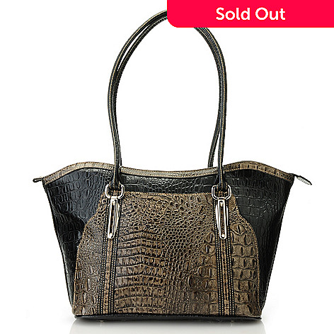 713-366 - Madi Claire Croco Embossed Two-tone Leather Double Handle Tote Bag