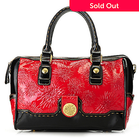 713-368 - Madi Claire Floral Embossed Leather Double Handle Satchel w/ Shoulder Strap